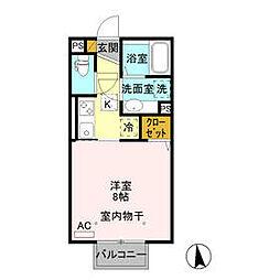 JR信越本線 北高崎駅 徒歩34分の賃貸アパート 1階ワンルームの間取り