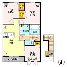 JR水戸線 新治駅 徒歩6分の賃貸アパート 2階3LDKの間取り