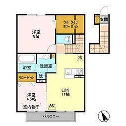 BSvilla B 2階2LDKの間取り