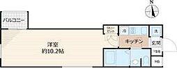 Beverly Homes 赤塚公園II 2階1Kの間取り