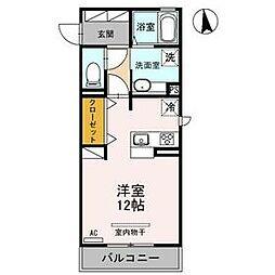 D-room Riviere 3階ワンルームの間取り