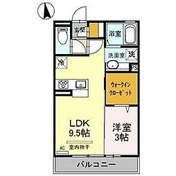 D-room Riviere 3階1LDKの間取り