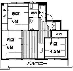 ビレッジハウスみなの1号棟 1階2LDKの間取り