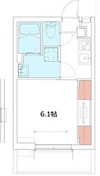 JR相模線 厚木駅 徒歩5分の賃貸マンション 3階1Kの間取り