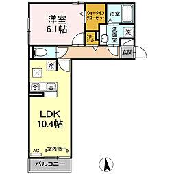 名鉄各務原線 手力駅 徒歩26分の賃貸アパート 1階1LDKの間取り