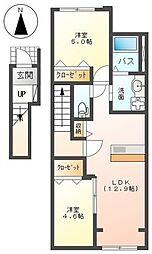 JR東海道本線 平塚駅 バス13分 南原土手下車 徒歩2分の賃貸アパート 2階2LDKの間取り