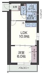 JR御殿場線 裾野駅 徒歩14分の賃貸マンション 2階1LDKの間取り