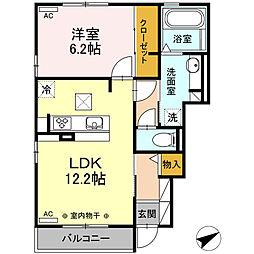JR御殿場線 長泉なめり駅 徒歩13分の賃貸アパート 1階1LDKの間取り