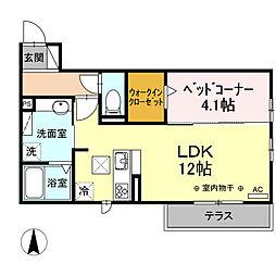 JR御殿場線 長泉なめり駅 徒歩25分の賃貸アパート 3階1LDKの間取り
