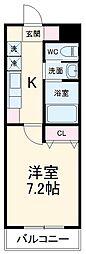 名古屋市営桜通線 野並駅 徒歩14分の賃貸マンション 3階1Kの間取り