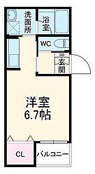 JR東海道本線 岡崎駅 徒歩8分の賃貸アパート 2階ワンルームの間取り