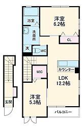 天竜浜名湖鉄道 常葉大学前駅 3.6kmの賃貸アパート 2階2LDKの間取り
