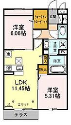 仮)サンアネックスふじみ野II 1階2LDKの間取り