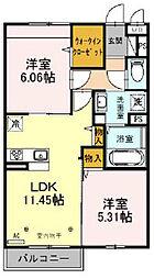 仮)サンアネックスふじみ野II 2階2LDKの間取り
