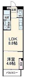 静岡鉄道静岡清水線 日吉町駅 徒歩22分の賃貸マンション 3階1LDKの間取り