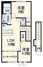 つくばエクスプレス 柏たなか駅 徒歩23分の賃貸アパート 2階2LDKの間取り