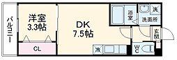 AJ幕張本郷NorthII 1階1DKの間取り