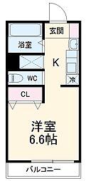 JR総武線 東船橋駅 徒歩11分の賃貸アパート 2階1Kの間取り