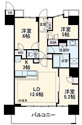 津田沼ザ・タワー 39階3LDKの間取り
