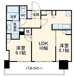 津田沼ザ・タワー 39階2LDKの間取り