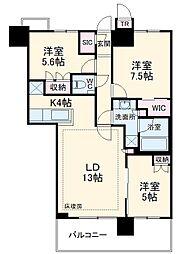 津田沼ザ・タワー 43階3LDKの間取り