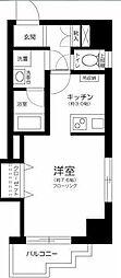 東急東横線 新丸子駅 徒歩4分の賃貸マンション 2階1Kの間取り