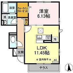 小田急江ノ島線 湘南台駅 徒歩15分の賃貸アパート 1階1LDKの間取り