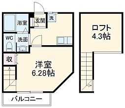 Duo Court 前川 1階1Kの間取り