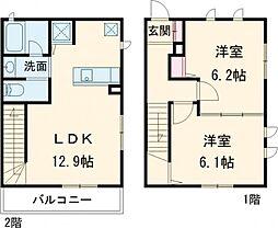 西武新宿線 下井草駅 徒歩13分の賃貸テラスハウス 1階2LDKの間取り