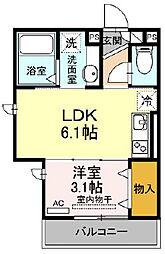 D-room kume 2階1LDKの間取り