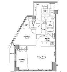 東急東横線 都立大学駅 徒歩8分の賃貸マンション 1階2LDKの間取り