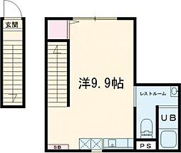 東急東横線 都立大学駅 徒歩15分の賃貸マンション 2階ワンルームの間取り