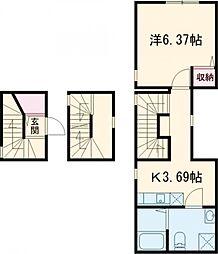 東急東横線 都立大学駅 徒歩15分の賃貸マンション 3階1Kの間取り