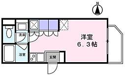 Blanc Ikegami 1階ワンルームの間取り