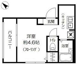 東武東上線 北池袋駅 徒歩2分の賃貸アパート 1階ワンルームの間取り