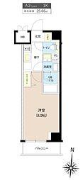 都営三田線 板橋区役所前駅 徒歩7分の賃貸マンション 6階1Kの間取り