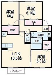名鉄犬山線 江南駅 徒歩34分の賃貸アパート 2階3LDKの間取り