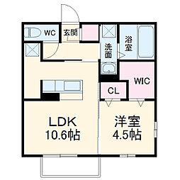 名鉄犬山線 柏森駅 徒歩20分の賃貸アパート 1階1LDKの間取り