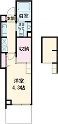 JR武蔵野線 西国分寺駅 徒歩10分の賃貸マンション 2階1Kの間取り