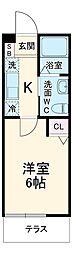 JR横浜線 十日市場駅 徒歩7分の賃貸アパート 1階1Kの間取り