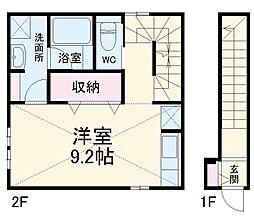コレクション名城公園IINorth 2階ワンルームの間取り