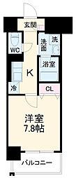 名古屋市営鶴舞線 浅間町駅 徒歩8分の賃貸マンション 12階1Kの間取り