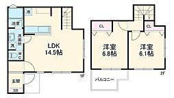 川島町住居 1階2LDKの間取り