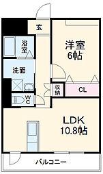 名古屋市営名城線 茶屋ヶ坂駅 徒歩24分の賃貸マンション 6階1LDKの間取り
