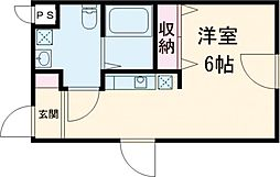 西武池袋線 練馬駅 徒歩7分の賃貸マンション 2階ワンルームの間取り