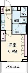東京メトロ千代田線 北千住駅 徒歩12分の賃貸マンション 2階1Kの間取り