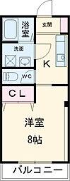 JR高崎線 高崎駅 徒歩28分の賃貸マンション 2階1Kの間取り