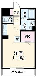 名鉄西尾線 桜町前駅 徒歩10分の賃貸アパート 2階ワンルームの間取り