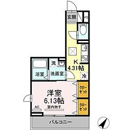 JR東海道本線 三河安城駅 徒歩12分の賃貸アパート 1階1Kの間取り