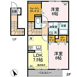 名鉄西尾線 福地駅 3.2kmの賃貸アパート 2階2DKの間取り
